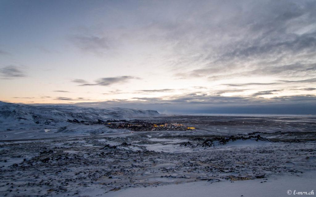 Vue depuis la route 1 entre Reykjavik et Selfoss