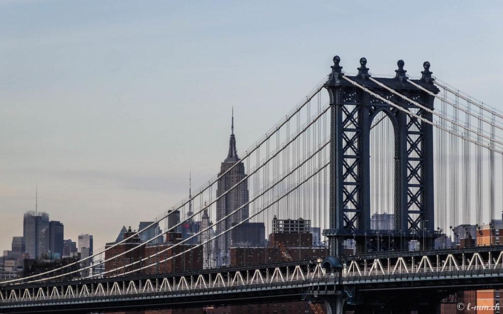 Manhattan Bridge depuis Pebble Beach (Dumbo) - New-York