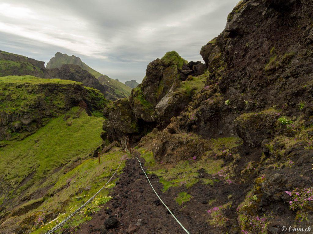 Accès au plateau au dessus du port (2) - Iles Vestmann - Islande